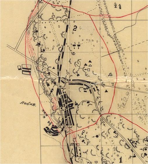 Схема оборонительного рубежа у Лобни-Киово