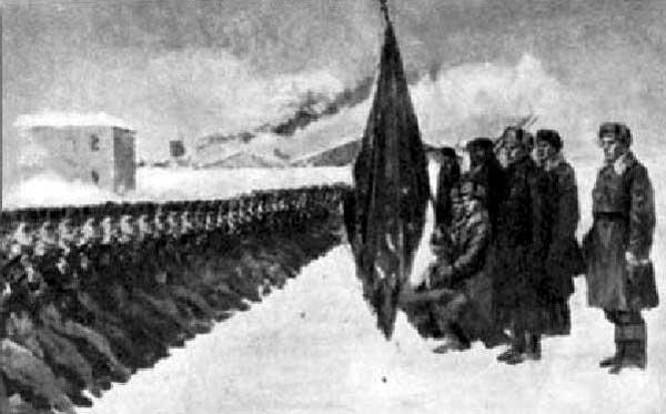 Вручение гвардейского знамени 71 омсбр