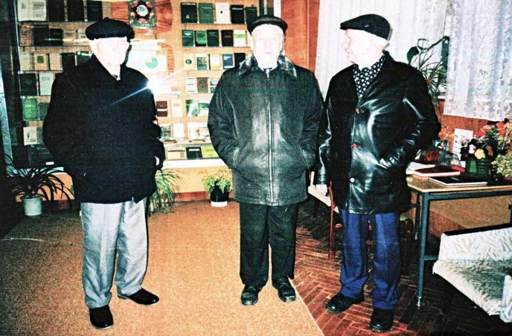 М.Ф. Щербаков, В.Т. Себежко и В.Ф. Ковалёв в музее ВНИИ кормов