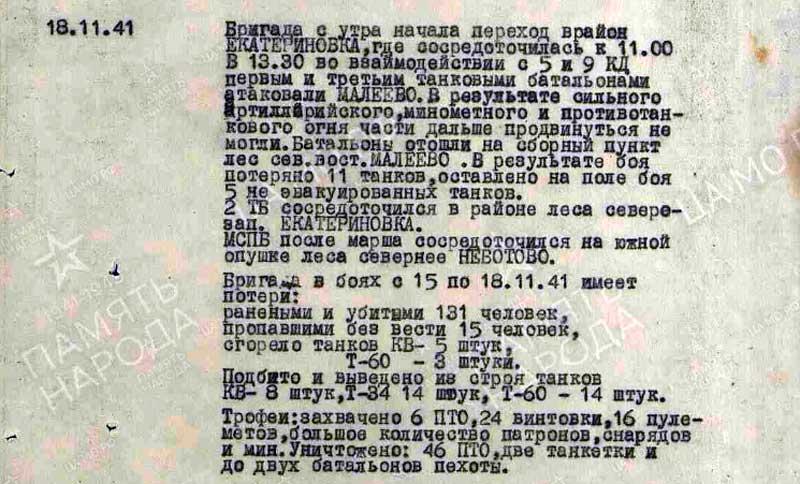 Лишь один день танковой бригады - 18.11.41 г. 145 тбр