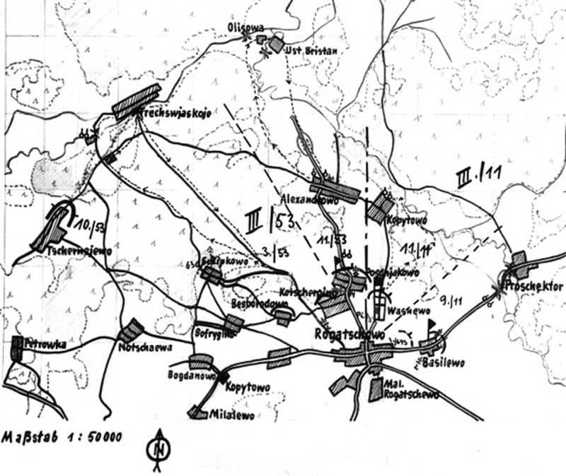 Эскиз оборонительных позиций 53-го пп 14-й мтд под Рогачево