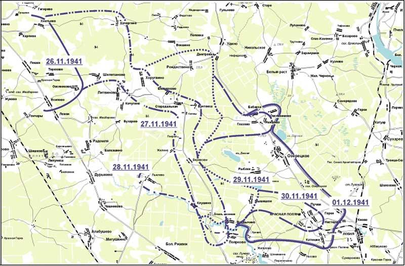 Положение 2-й тд вермахта в период с 26.11 по 01.12.1941 г.