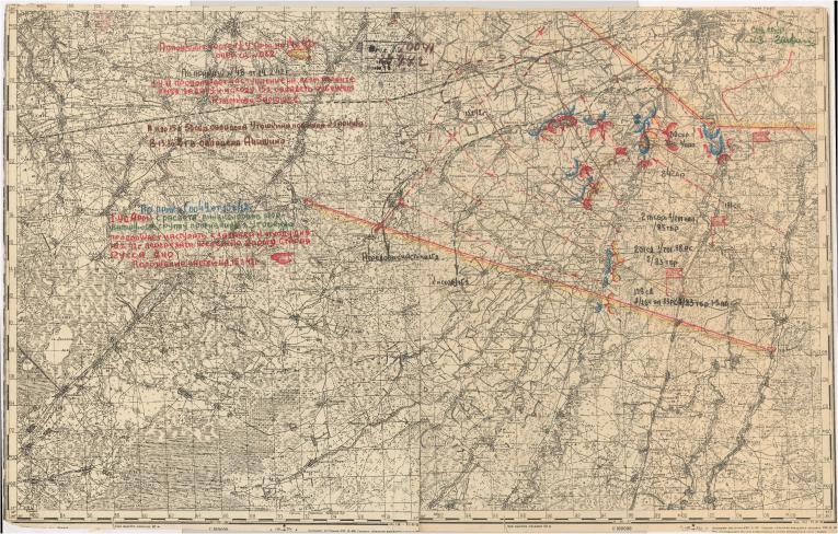 Карта положения частей 1 Уд. А на 14.2.42 г.